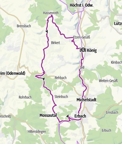 """Karte / Bad König: Radweg """"Hohe Straße"""" - Über Odenwaldberge und durchs Mümlingtal"""