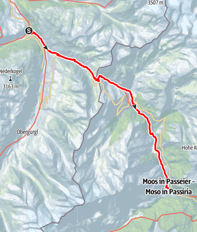 Map / European E5 long-distance hiking trail – King's Segment – Zwieselstein to Moos in Passeier (original route)