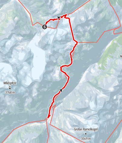 Map / European E5 long-distance hiking trail – King's Segment – Braunschweiger Hut to Vent (alternative route)
