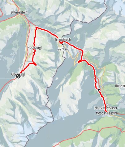 Karte / Europäischer Fernwanderweg E5 – Königsetappe – Von Obergurgl nach Moos in Passeier (Alternativroute)