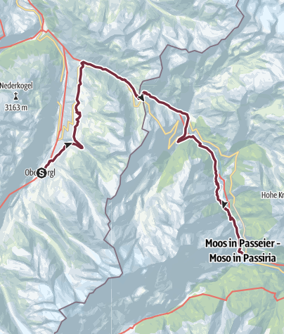 Map / European E5 long-distance hiking trail – King's Segment – Obergurgl to Moos in Passeier (alternative route)