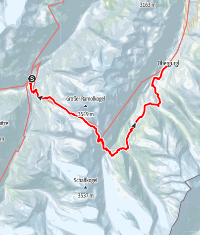 Map / European E5 long-distance hiking trail – King's Segment – Vent to Obergurgl (alternative route)