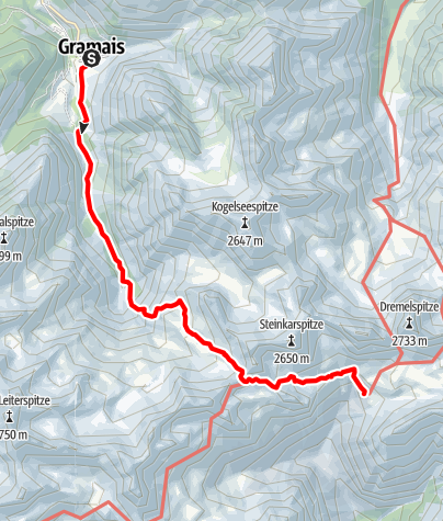 Map / Wanderung von Gramais über das Gufelgrasjoch zur Steinseehütte