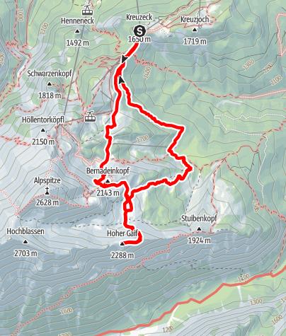 Karte / Hoher Gaif (2288 m) von Norden