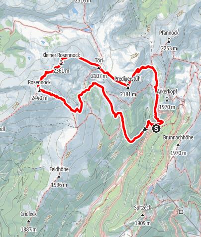 Map / Großer und Kleiner Rosennock, Predigerstuhl am 11. September 2018