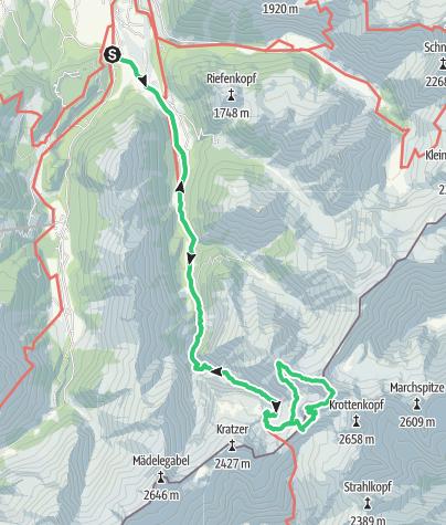 Karte / Über die Krottenspitzen - der längste Allgäuer Grat