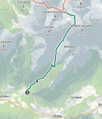 Map / Zustieg Coburger Hütte von Obsteig
