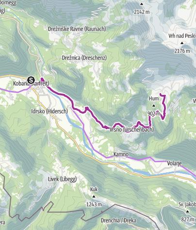 Cartina / Da Kobarid alla malga Kuhinja in bici