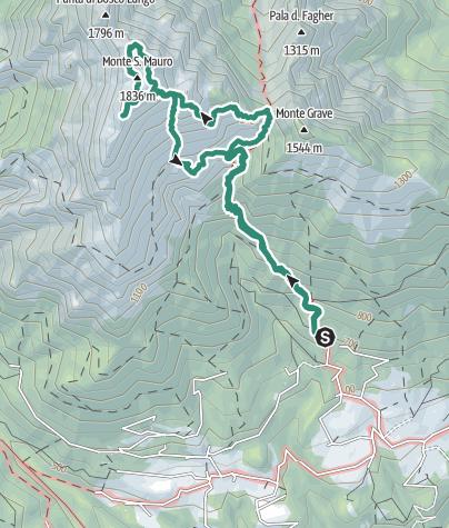 """Cartina / Monte San Mauro con due varianti """"tecniche"""" alla via normale"""