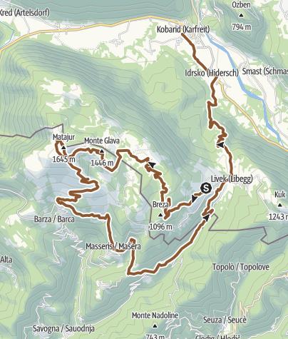 Cartina / Matajur (Avsa - Idrska planina - Dom na Matajure - Livek)