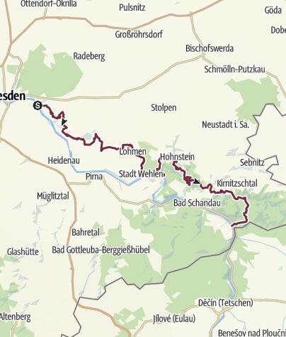 Karte / Dichter-Musiker-Maler-Weg (kurze Variante ohne Prebischtor)