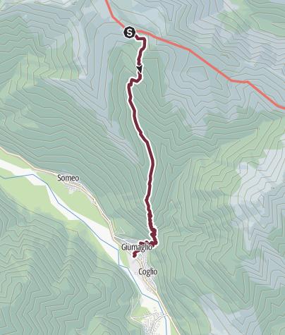 Cartina / Tappa 2: Alpe Spluga-Cortone-Arnau-Giumaglio