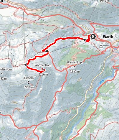 Karte / Warth | Sonnenaufgangstour aufs Wartherhorn