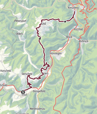 Karte / AhrSteig Etappe 4: Insul - Kreuzberg