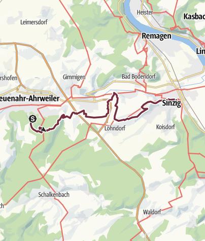 Karte / AhrSteig Etappe 7: Bad Neuenahr Mitte Bhf - Sinzig