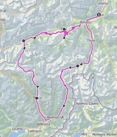 Karte / Rennrad-Route Quellregion Rhein