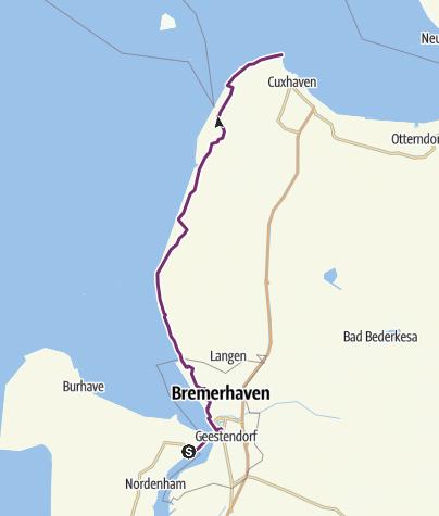 Karte / Weser-Radweg, 8.Etappe: Von Nordenham/Bremerhaven nach Cuxhaven
