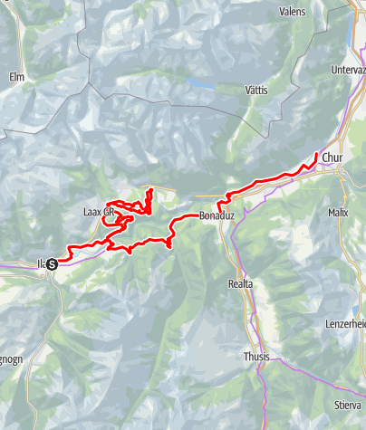 Karte / Etappe 6 Gravelbike-Route Vorderrhein: Ilanz – Flimserwald –Chur
