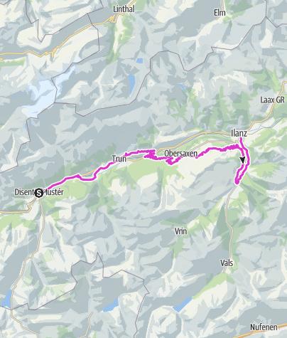Karte / Etappe 4 Rennrad-Route Quellregion Rhein: Disentis – Ilanz