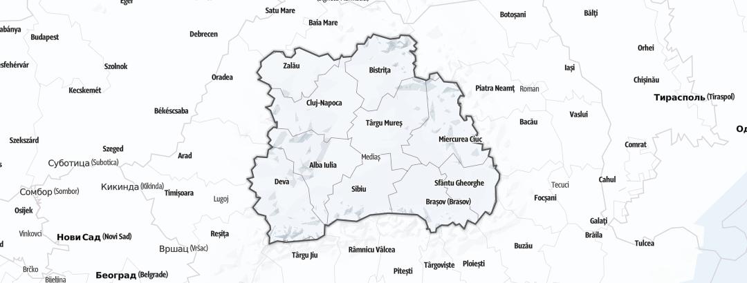 Mapa / Zimní sporty v oblasti Transylvania