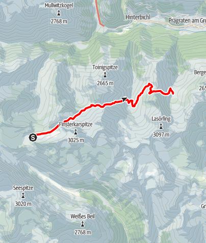 Map / Übergang von der Reichenberger Hütte zur Bergerseehütte