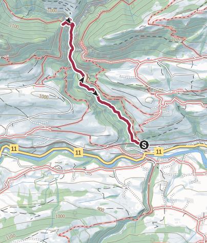 Karte / Von Weissenburg zur Hängebrücke Leiternweide