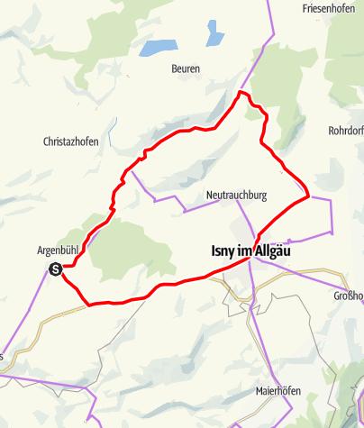 Karte / Argenbühl - leichte Radtour für Familien