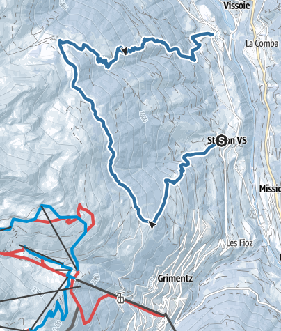 Map / Snowshoe trail from St-Jean to Mayoux