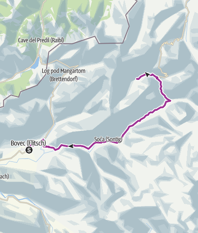 Map / Cycling to the valley of Zadnja Trenta