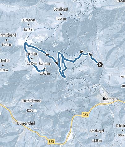 Karte / Mit Schneeschuhen auf die Lachalm und den Blahstein
