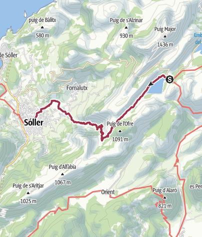 Mapa / Transfer zum Embassament de Cúber-Stausee, Wanderung nach Sóller