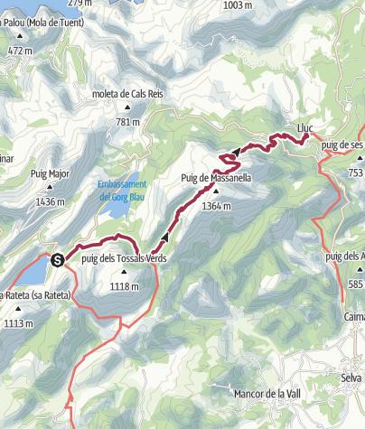 Mapa / Transfer zum Embassament de Cúber-Stausee, Wanderung zum Kloster Lluc