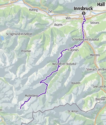 Karte / STUBAI ULTRATRAIL (Innsbruck - Stubaier Gletscher)