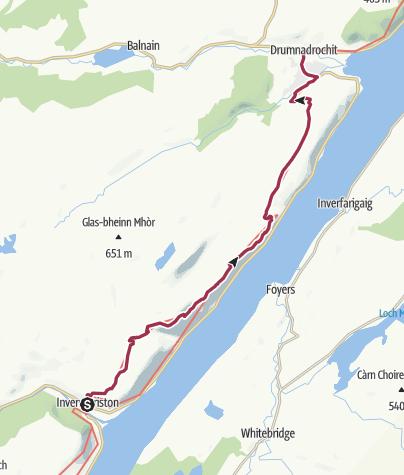Karte / Wanderung nach Drumnadrochit (High Route)