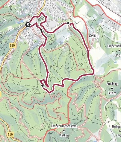 """Map / Rundwanderung  - """"Durch das romantische Johannistal"""" bei Eisenach - Thüringer Wald"""