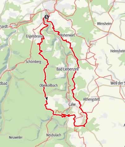 Karte / 24h-Wanderung 2019: Pforzheim-Weißenstein - Salmbach - Bad-Teinach - Bad Liebenzell - Monbachtal - PF-Weißenstein