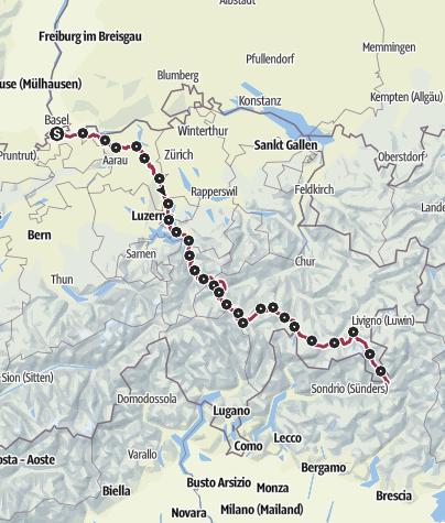 Karte / Von Basel ins Veltlin (28 Tage) Gesamtroute