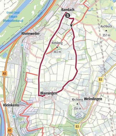 Karte / Wanderung nach Blansingen