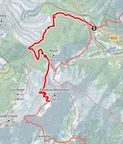 Karte / Zustieg vom Präbichl über die Plattenalm zur Reichensteinhütte (Theklasteig)