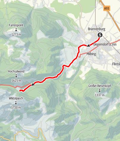 Karte / Zustieg Mitteralm vom Bahnhof Brannenburg
