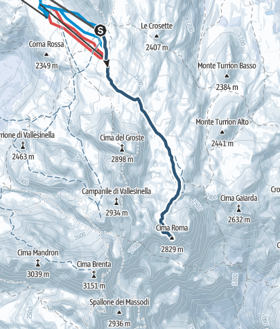 Map / Cima Roma from Grostè: ski moutaineering route