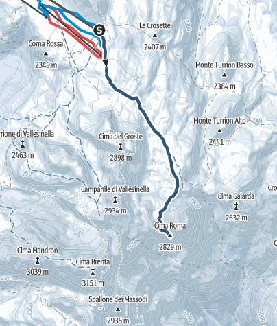 Carte / Cima Roma da Passo Grostè: itinerario di scialpinismo