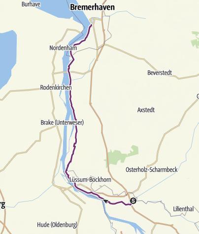 Karte / Weser-Radweg Alternativroute, 7. Etappe: Von Bremen nach Bremerhaven