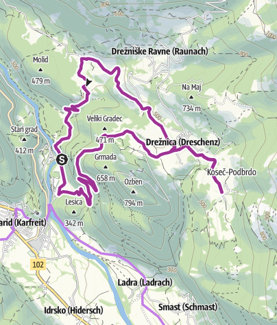Map / Cycling to the villages of Koseč and Magozd with a dessert
