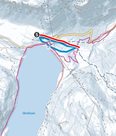 Karte / Naturrodelbahn Silvrettasee