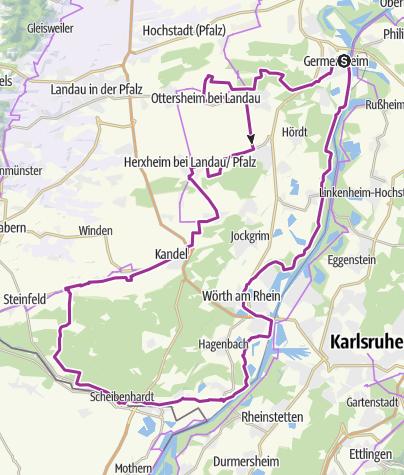 Karte / Rundtour - Mit dem Rad die Südpfalz entdecken
