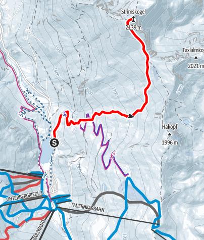 Map / Skitour Strimskogel Zauchensee