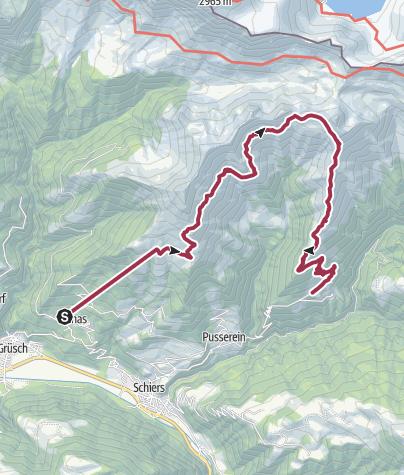 Karte / Von der Bergstation der Fanaser Bahn nach Schuders