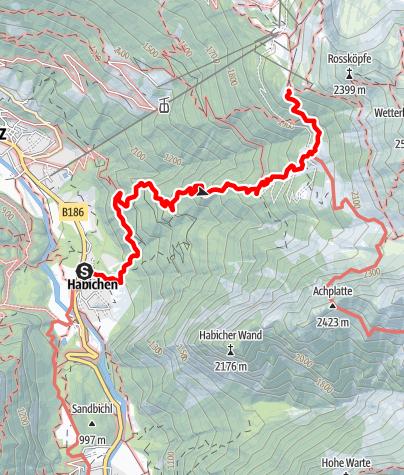 Karte / Zustieg Bielefelder Hütte von Oetz/ Habichen
