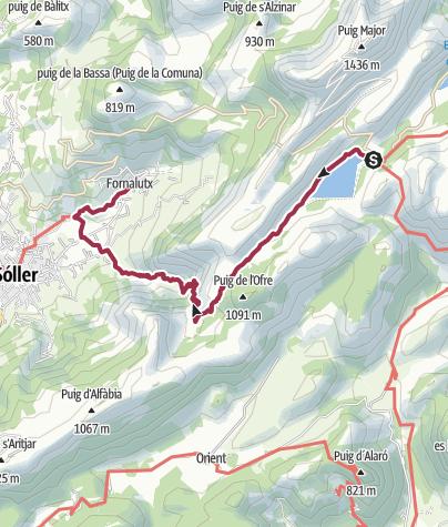 Karte / Wanderung von Cúber nach Fornalutx